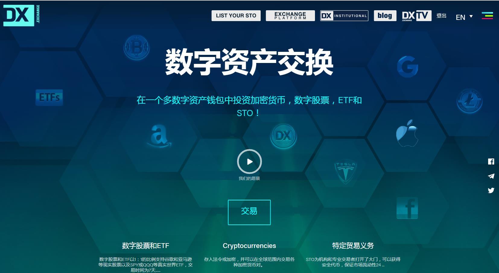 DX.Exchange首家合规STO挂牌和证券型代币交易所